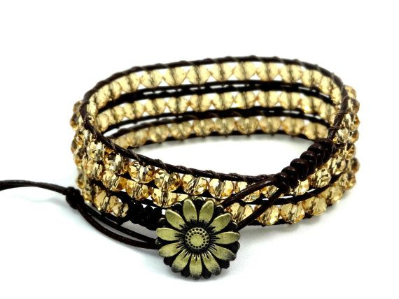 Leather Wrap Bracelet, Leather Bracelet, Crystal Wrap Bracelet, Crystal Bracelet, Triple Wrap Bracelet, Bohemian Bracelet, Gift Ideas