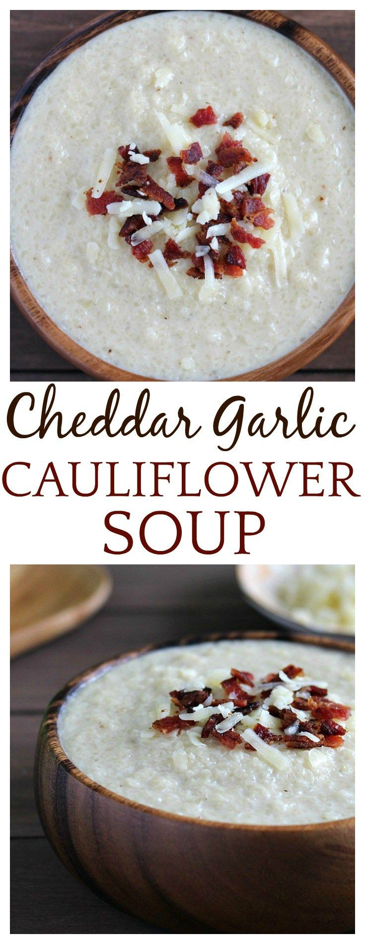 This low-carb White Cheddar Garlic Cauliflower Soup will keep you warm all season! This is a vegetarian soup recipe as written. It can also be made gluten free simply by using an all purpose gluten free flour as a thickener.
