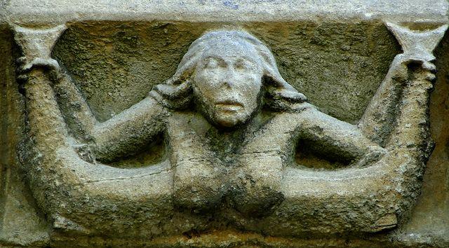 Adderbury, Oxfordshire Corbel frieze, north side, mid C14 - mermaid