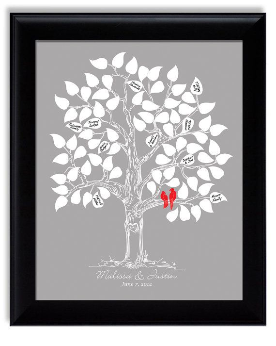 Custom Wedding Guestbook Alternative Guest Book Tree Personalized Gift Love Birds Classic