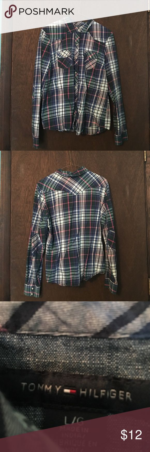 Tommy Hilfiger Plaid Button Down Shirt Tommy Hilfiger plaid button down shirt. Like New. Offers welcome. Same or next day shipping. Tommy Hilfiger Tops Button Down Shirts