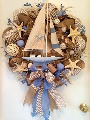 """SAILING AWAY"" - XXL Summer Nautical Coastal Decor Sailboat Seashell Wreath"