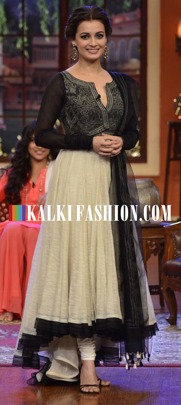 Dia Mirza attended the show Comedy Nights with Kalip in a beige and black Tarun Tahiliani suit to promote Bobby Jasoos movie http://www.kalkifashion.com/