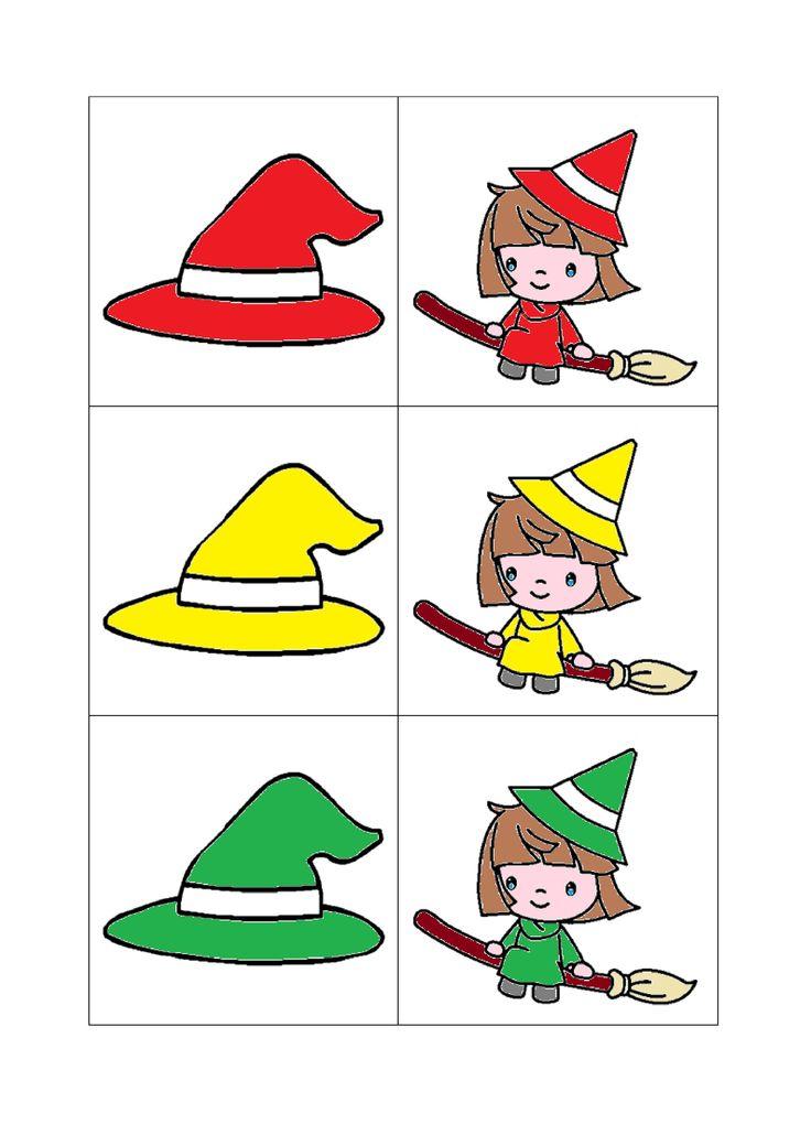 Deel 1 Associatiespel: heks - hoed. Memory: heks - hoed in de juiste kleur horen bij elkaar
