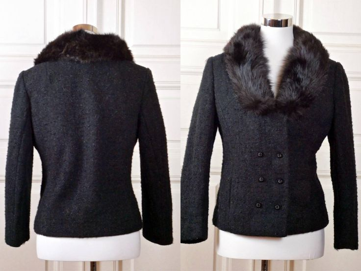 Black Wool Coat w Fur Collar, European Vintage 1960s Short Wool Boucle Jacket w Black Fur Shawl Collar, Double Breasted: 6 US, 10 UK by YouLookAmazing on Etsy