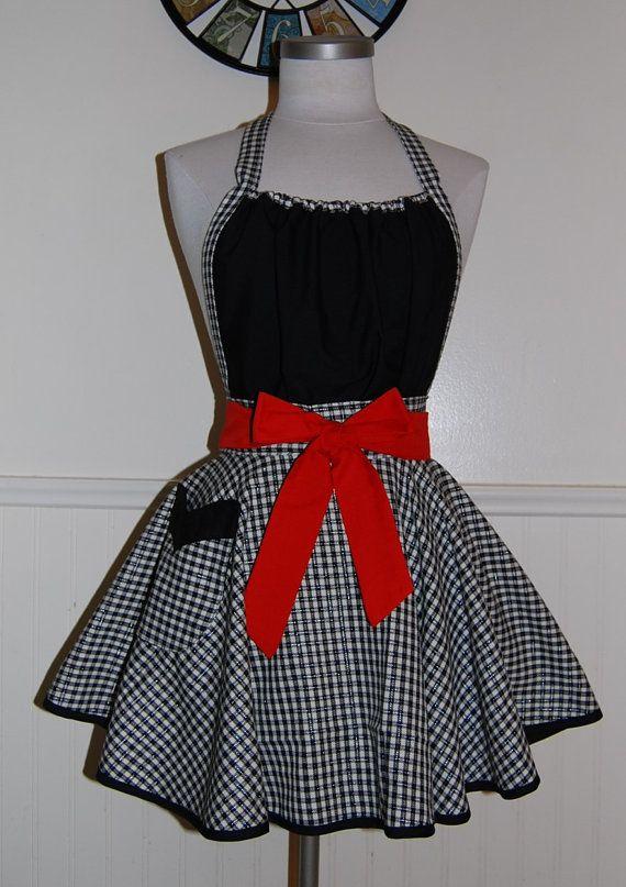 Red and Black Plaid Full Circle Skirt Hostess by CRACKERJACKCOUNTY