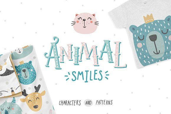 Animal smiles- Baby characters by tatiletters on @creativemarket