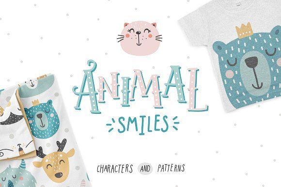 Animal smiles by tatiletters on @creativemarket