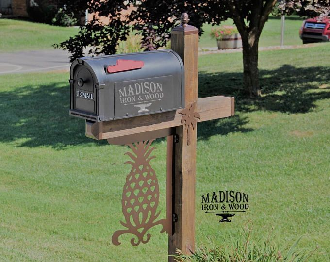 Acorn Pattern Wrought Iron Mailbox Post Dress Up Kit Mailbox Etsy Wrought Iron Mailbox Mailbox Decor Mailbox Post Mailboxes and posts sets