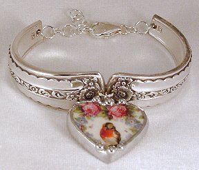 Have a couple of old spoons? Look how pretty, the handles were cut and bent to form a bracelet, this is so pretty.  Dishfunctional Designs: Birds on Vintage China Patterns