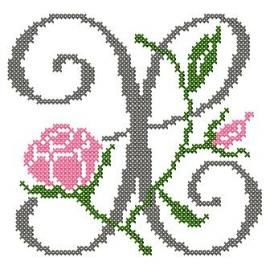 motif-Point de croix-Abc Rose anglaise-X
