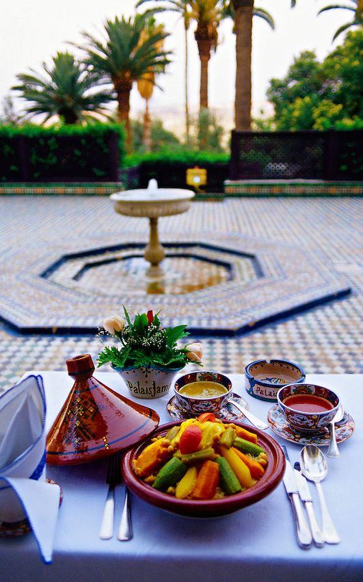 Seven vegetable cous cous served in luxury hotel Palais Jamai restuarant Al Fassia, Fez