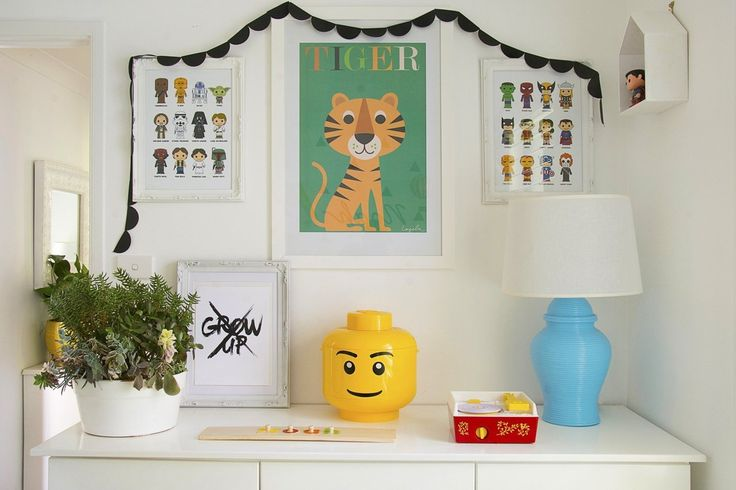 """Loving the """"Grow up"""" artwork in this room. Easy to make your own artwork for kids rooms. Noah's Graphic, Modern Abode"""