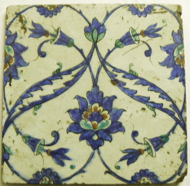 tile; Ottoman dynasty; 17thC(late); Iznik; Tekfur Sarayi