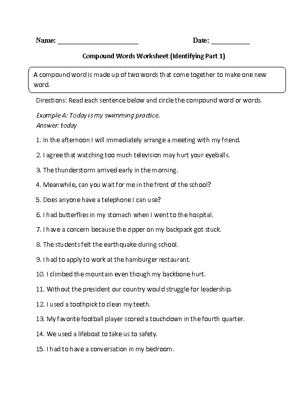 Identifying Compound Words Worksheet