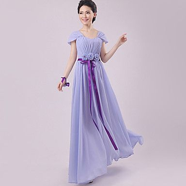 Dress+Sheath/Column+Scalloped+Floor-length+Chiffon+Dress+–+USD+$+24.99