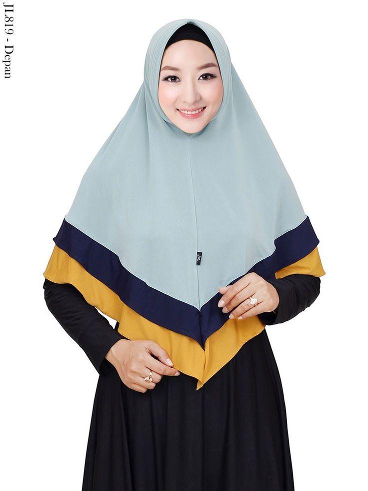 Jilbab Jersey Super Kombinasi 3 Warna Polos Pet Antem Murah