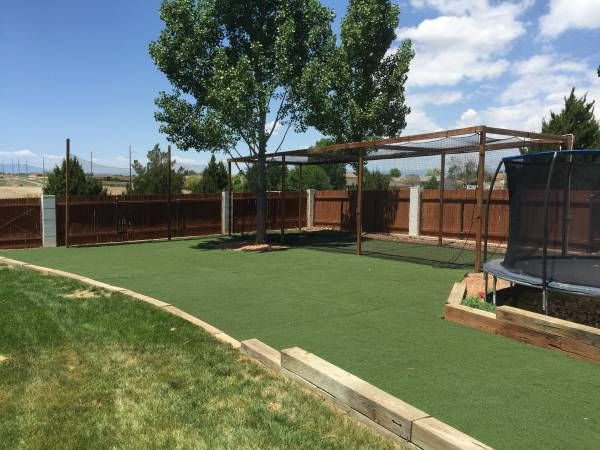 Take Your Spring Training To The Next Level And Save Thousands When You Diy Your Very Own Baseball Batting Cage Onc Artificial Grass Backyard How To Lay Turf