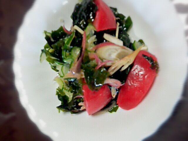 トマト、きゅうり、みょうが、生姜で酢の物! - 66件のもぐもぐ - サッパリ酢の物、 by こきあ