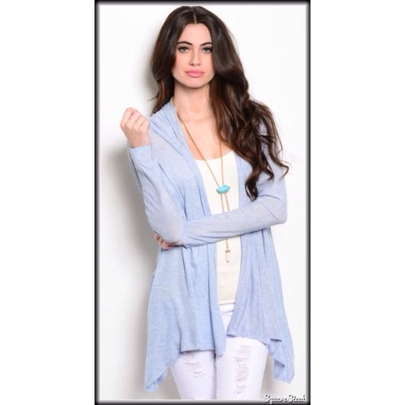 TENBaby blue light  hooded cardigan S or M Baby blue and ever so soft hooded cardigan   Small Medium  95% rayon 5% spandex   NWOT   Small bust up to 38  medium bust up to 40   large bust up to 42    BUNDLE DISCOUNTS DO NOT APPLY TO SALE ITEMS  RETAIL BRAND NEW BUT NO TAGS Tops