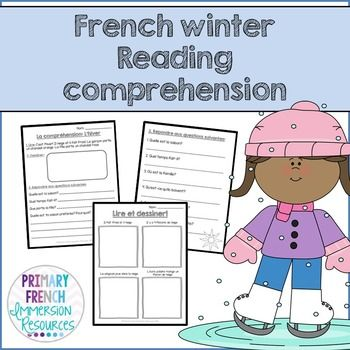 French - Winter reading comprehension sheets.