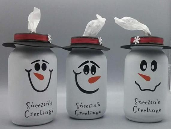 Mason jar tissue holder, tissue dispenser, mason jars, snowman, christmas decor