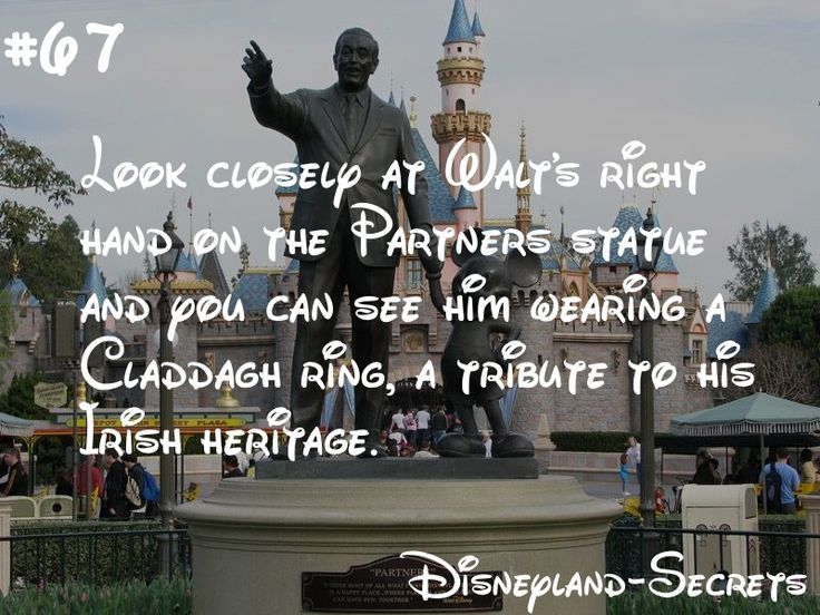 Ever looked closely at the Partners statue, a Disneyland staple? If you look very closely at Walt's hand coming from Frontierland, you can spot a ring on his fourth finger. It is a Claddagh ring, a nod to Walt's Irish ancestry. Check it out next time you find yourself saying hello to Walt and Mickey!