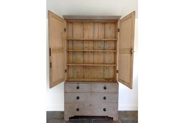 Hand Painted Antique Housekeepers Armoire Wardrobe Linen Press Larder Cupboard Rustic photo 2