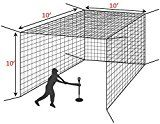 10′ Baseball Batting Cage Net [Net World Sports] (10′ x 10′ x 10′ | weight #42)   Open ended batting cage net. Options of #36, or #42 weight HDPP twine. Super Strong. Includes built in tie cords/tails + additional central roof salvage One piece net with three sides and...