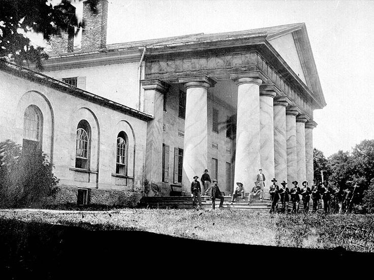 East front of Arlington House (General Lee's home), with Union soldiers on the lawn,           June 28, 1864