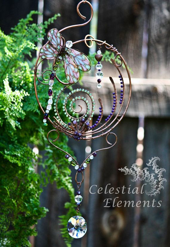 Handmade  sun catcher, copper wire was bent in spiral shape; large crystals , gemstones, beaded dragonfly body, beautiful transparent wings