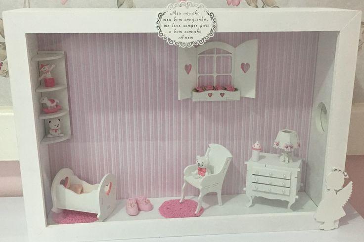 Quadro cenário miniatura de quarto de criança.