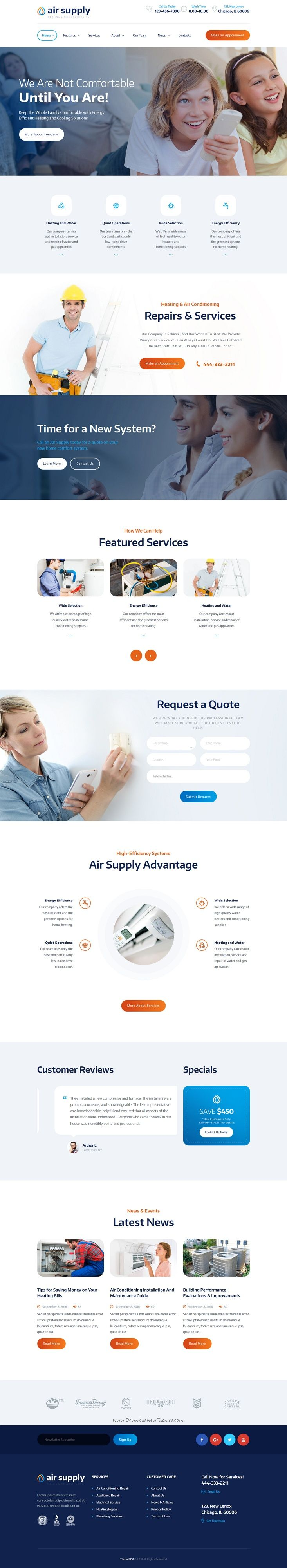 This is a wonderful responsive #HTML template #air condition and #heating services website download now➩ https://themeforest.net/item/air-conditioning-and-heating-services-site-template/19213395?ref=Datasata