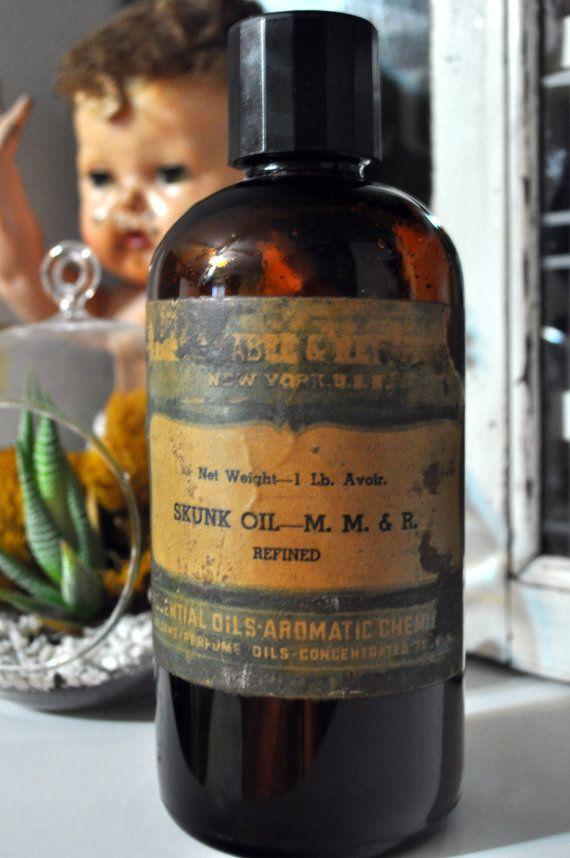 Vintage Medicinal Skunk Oil Bottle. Native by ...