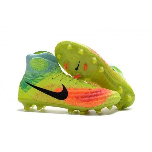 Billigt Nike Magista orden II FG Fotbollsskor för män Gul Orange Blå Svart