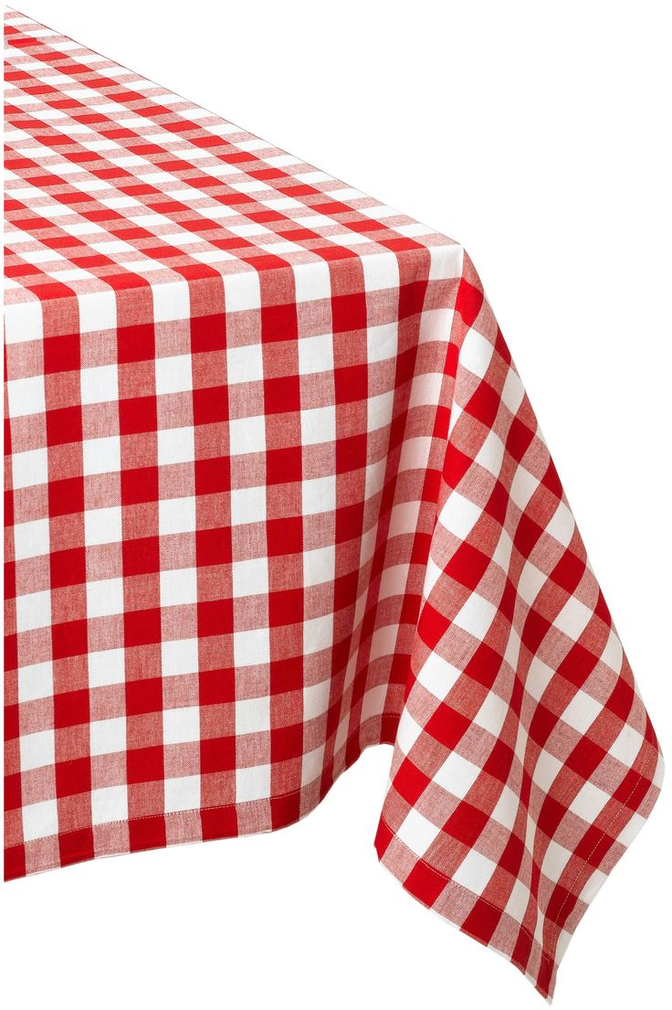"DII 100% Cotton, Machine Washable, Dinner, Summer & Picnic Tablecloth 60 x 84"", Tango Red Check, Seats 6 to 8 People"