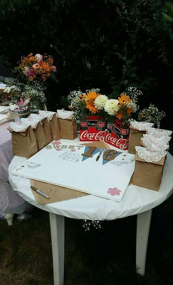 Country theme girly sweet 16 lace burlap guest book idea flowers