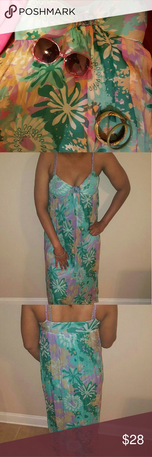 Max Studio Specialty Floral Maxi Dress Beautiful maxi dress, very light, great for spring wear, Floral,spaghetti strap, fits a b cup bra size. New with out tags. Perfect for a sunny day. Max Studio Dresses Maxi