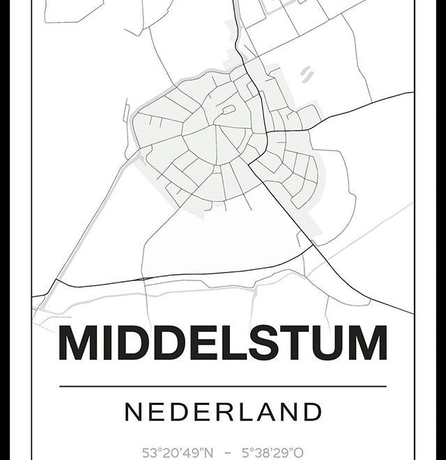 Deze kaart gaat naar de nieuwe eigenaar. We hebben nog 4 prints van #middelstum A4 op voorraad voor € 10,-  #map #kaart #poster #ansichtkaart #plattegrond #stadsplattegrond #stadskaart #stadskaarten #wonen #interieur #straten #dorp #stad #city #citymap #stadskaart #sneek #diy #wallart #mapart #fryslan #nederland #illustrator #gift #personalgift #kado #cadeau #stedenposter #steden #dorpen #instahome #homestyle #interior #middelstum