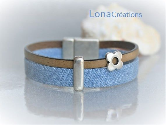 Khaki leather strap and denim blue fabric, Cuff Bracelet, Silver Flower passing and silver zamak clasp
