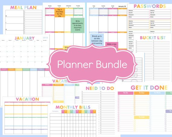 Calendar Planner Organizer : Complete planner bundle with daily and weekly pages