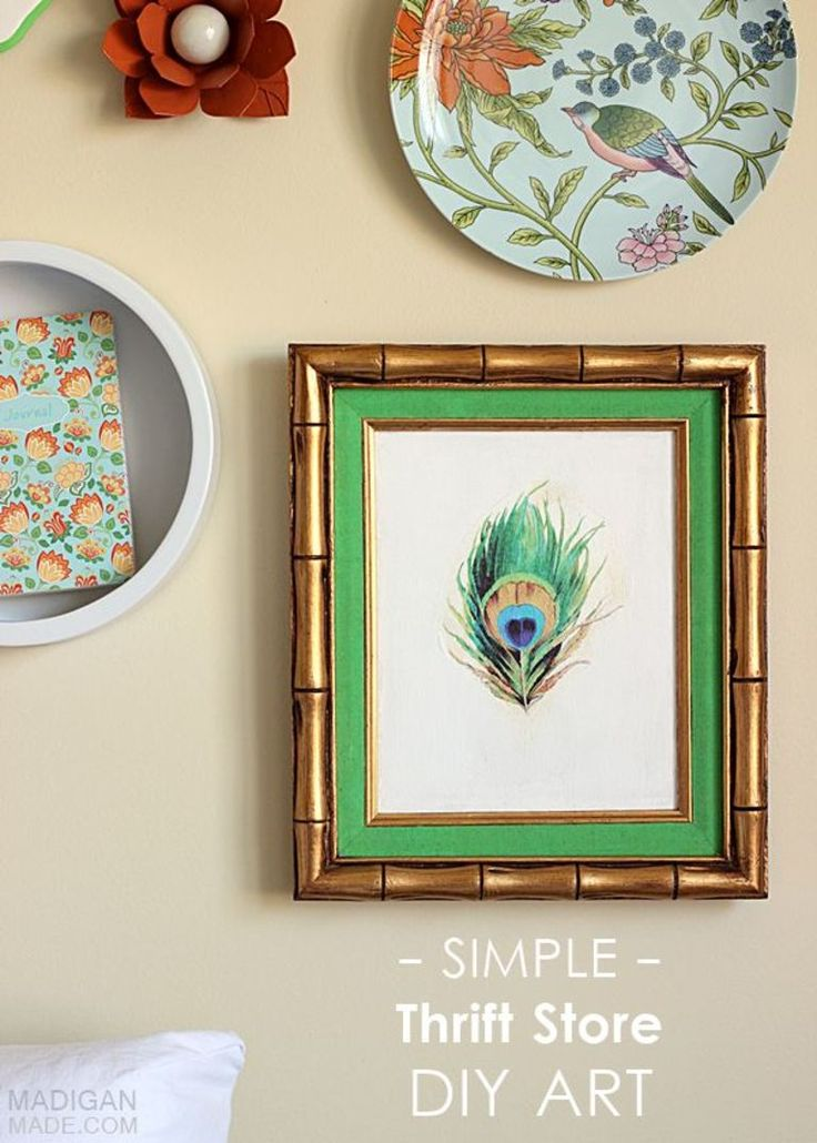 Perfect Simple DIY Thrift Store Wall Art Idea: Paint Over A Frame And Apply A  Vintage