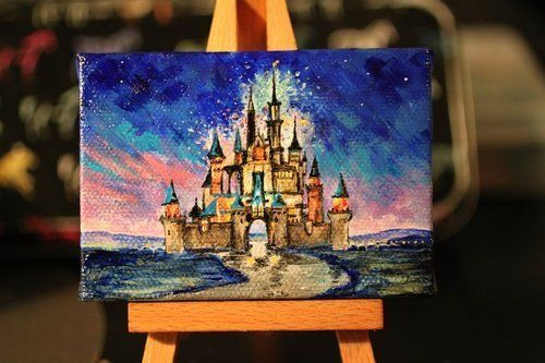 I wish I had an artistic friend who would make this for me. It's so awesome. Sleeping Beauty castle painting.