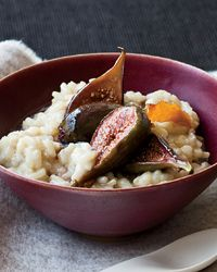 Soy Milk-Arborio Rice Pudding with Poached Figs - The arborio rice in Joe Bastianich's lightly sweet pudding provides complex carbohydrates for energy. Since the pudding keeps well in the refrigerator, Joe Bastianich makes it in big batches, then reheats portions for quick breakfasts.