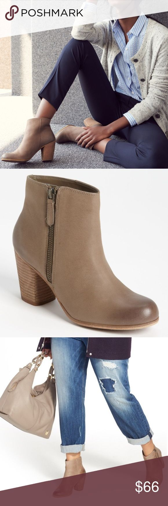 BP beige taupe light tan leather ankle booties Brand new in BP box (just not original BP box). Originally selling at Nordstrom. Size 9.5. Genuine leather. Zipper on the outside of the ankle. Super popular and loved bootie! Additional details in the 7th picture. BP beige taupe light tan leather ankle booties. Nordstrom Shoes Ankle Boots & Booties