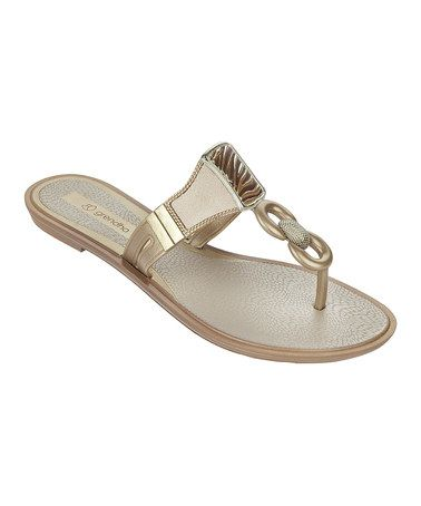 This Beige Golden Flip-Flop by Grendha is perfect! #zulilyfinds
