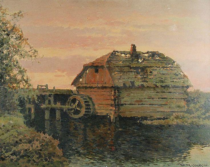 Wiktor KORECKI (1890-1980)  Młyn olej, tektura; 53 x 68 cm; sygn. p. d.: WIKTOR KORECKI