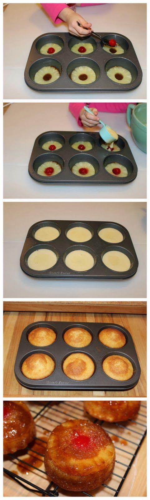 Muffin Estaño Piña revés Cake Recetas - Muchtaste