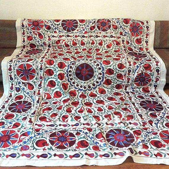 A Fabulous Handmade Suzani from Uzbekistan.Tablecloth Wall