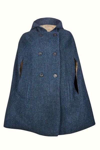 Navy Grace Hooded - Wrap yourself in the perfect wardrobe staple for Autumn through Spring, and add some swoosh to your strut. This luxurious vintage-style Navy cape in 100% Harris Tweed is a timeless piece that will not go out of fashion.